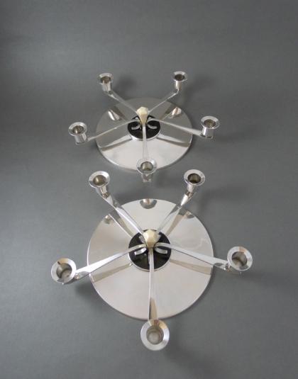 Paar Art Deco vijf lichts zilveren kandelaars