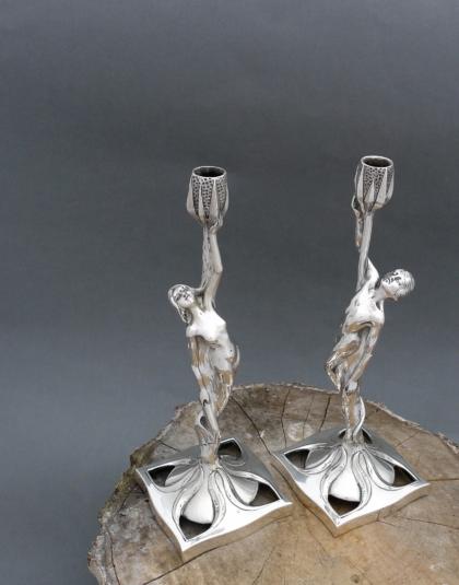 Jugendstil zilveren kandelaars ( verkocht )